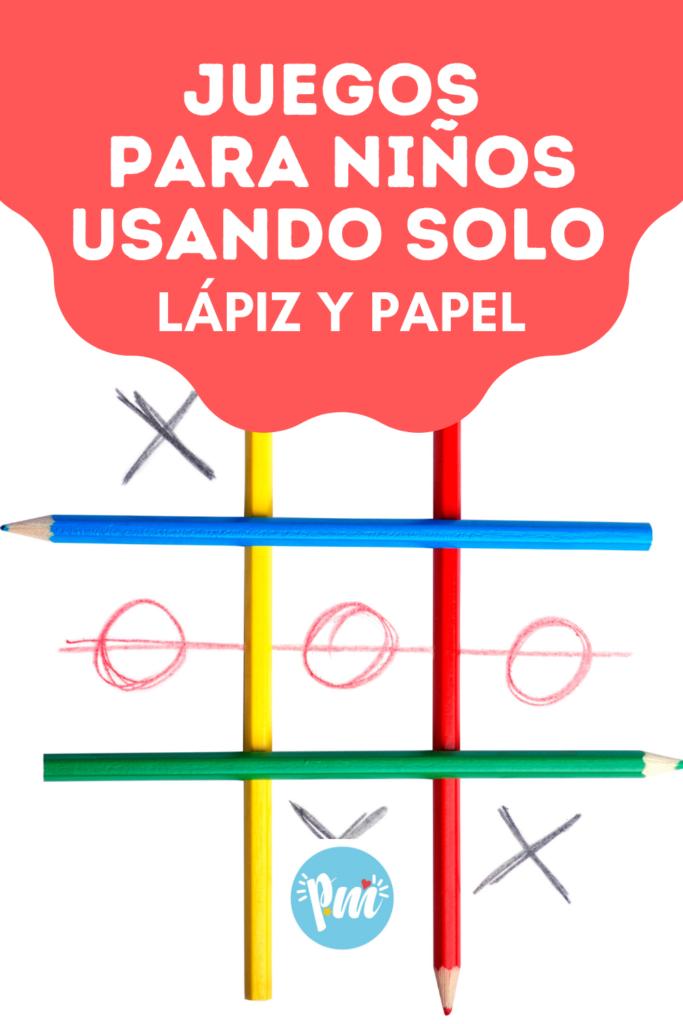 Poster juegos con lápiz y papel para niños