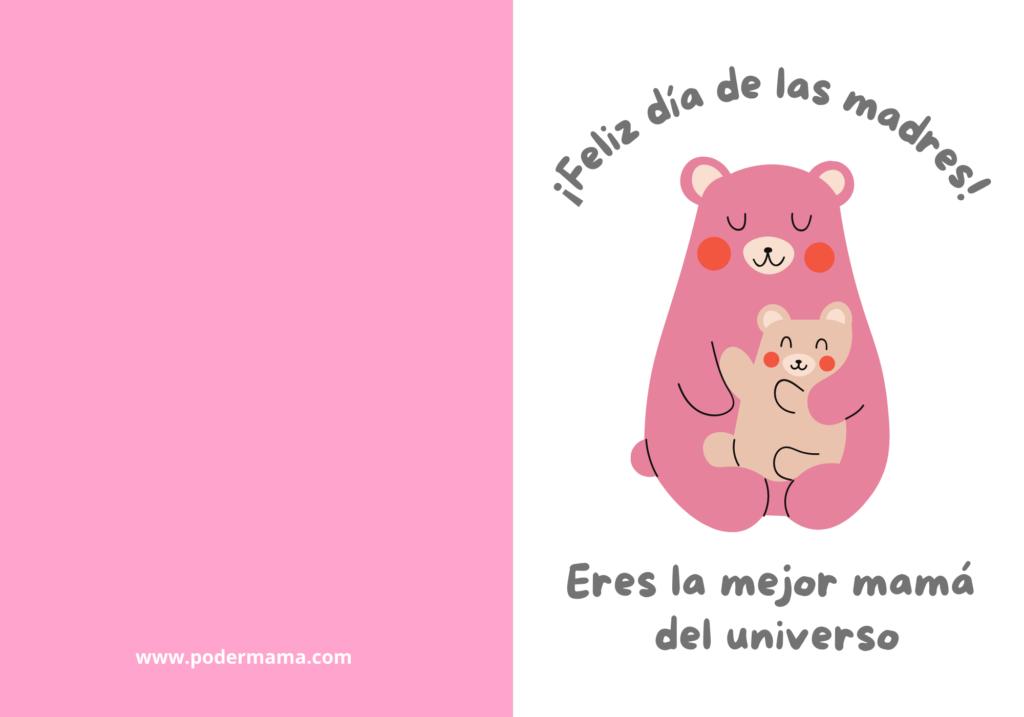 tarjeta de osito para el día de las Madres